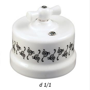 """Выключатель 1-кл. проходной """"ЛИЗЕТТА"""" Белый c декором BIRONI - фото 4915"""
