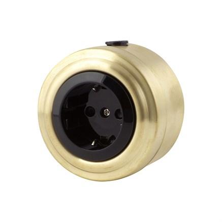 Розетка электрическая ретро, Золото, черная VINTAGE Metal М1-23-22