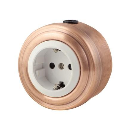 Розетка электрическая ретро, Медь, белая VINTAGE Metal М1-22-23