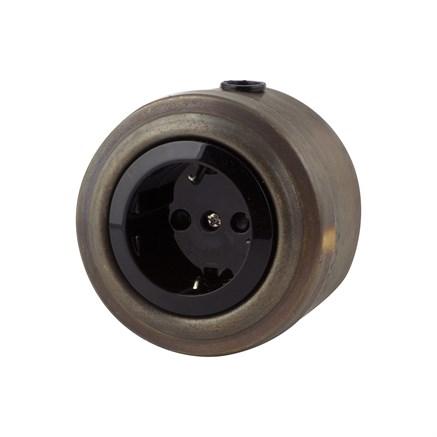 Розетка электрическая ретро, патинированная, VINTAGE Metal М1-12-27