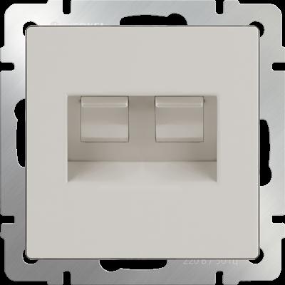 Розетка телефонная RJ-11 и Еthernet RJ-45 (слоновая кость) WL03-RJ11-45-ivory - фото 11310