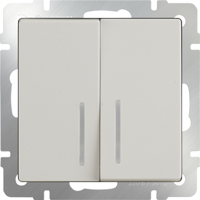 Выключатель двухклавишный с подсветкой (слоновая кость) WL03-SW-2G-LED-ivory - фото 11325