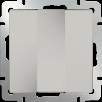 Выключатель трехклавишный (слоновая кость) WL03-SW-3G-ivory - фото 11326