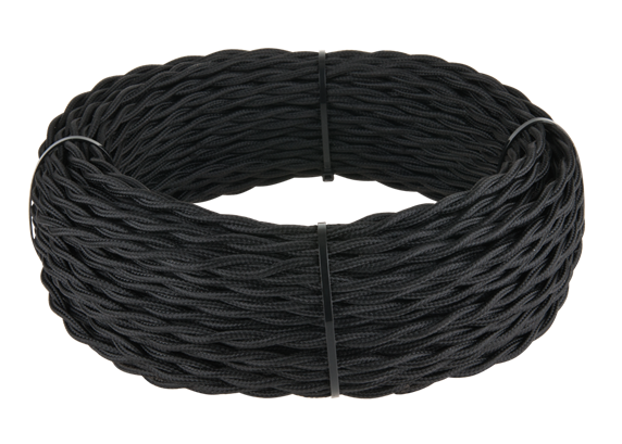 Ретро кабель витой  2х1,5 (черный) - фото 11438