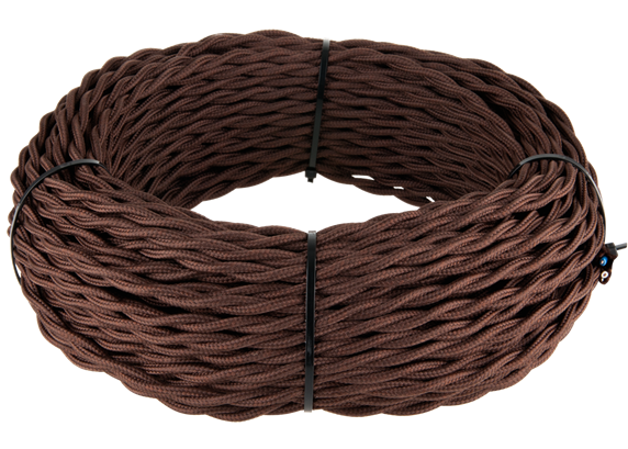 Ретро кабель витой  2х2,5 (коричневый) - фото 11440