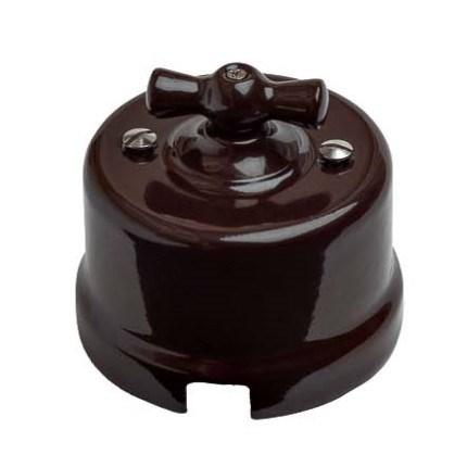 Выключатель ретро пластиковый Коричневый, Bironi B1-201-22