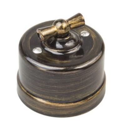 Выключатель ретро пластиковый Бронза, Bironi B1-201-25