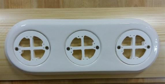 Керамическая накладка на бревно 3х-местная, универсальная, белая