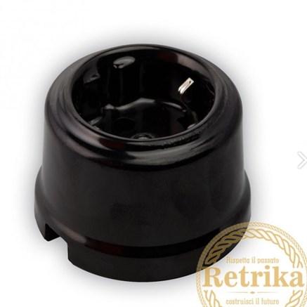 Розетка с заземлением цвет черный, Retrika - фото 12289