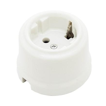 Розетка с заземлением  цвет белый, Retrika RS-80001