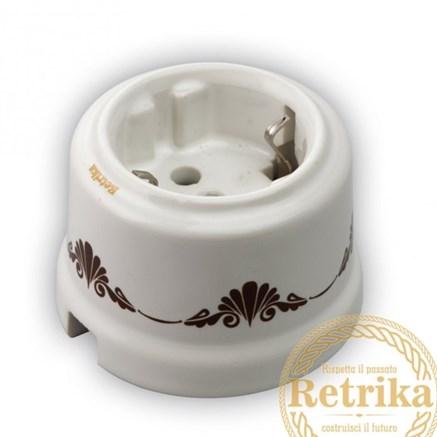 Розетка керамическая Декор коричневый №1, Retrika RS-800001