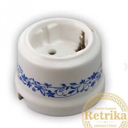 Розетка керамическая Декор синий №2, Retrika RS-800004
