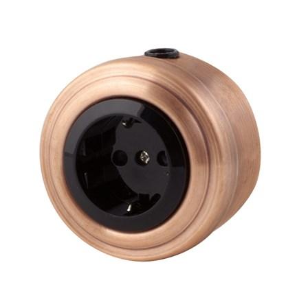 Розетка электрическая ретро, Медь, черная VINTAGE Metal М1-23-23 - фото 12456