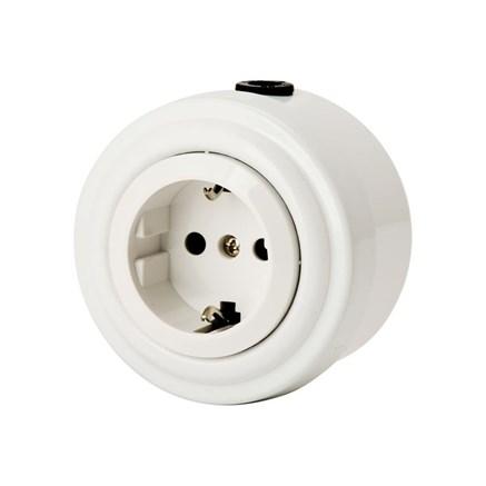 Розетка электрическая ретро, металл, Белая, VINTAGE Metal М1-22-20 - фото 13885