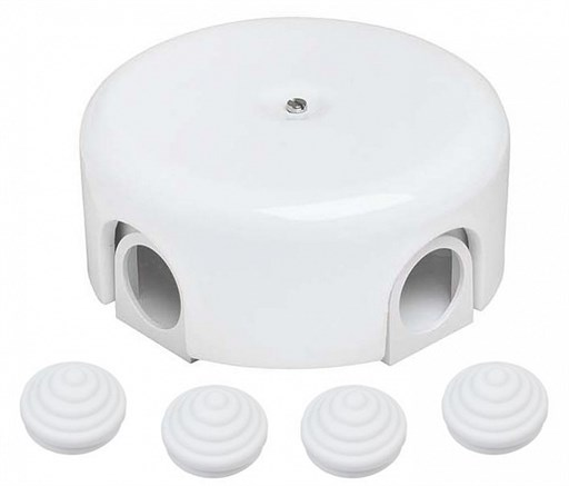 Распределительная ретро коробка пластиковая 78-110 мм, Белая, Bironi B1-522-21 - фото 15237