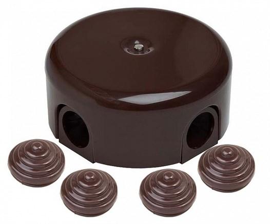 Распределительная коробка ретро пластиковая 78-110 мм Коричневая, Bironi B1-522-22-К - фото 15239