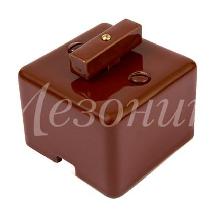 Выключатель ретро фарфоровый квадратный коричневый Мезонин GE80404-04 - фото 17106