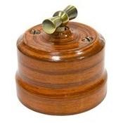 Выключатель ретро керамический Орех Lindas 34026