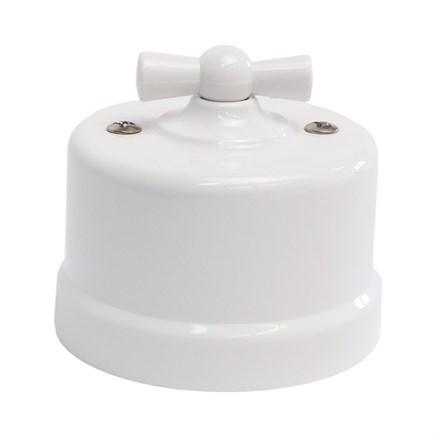 Выключатель пластиковый ретро, белый, KERUDA KBSW/1-01