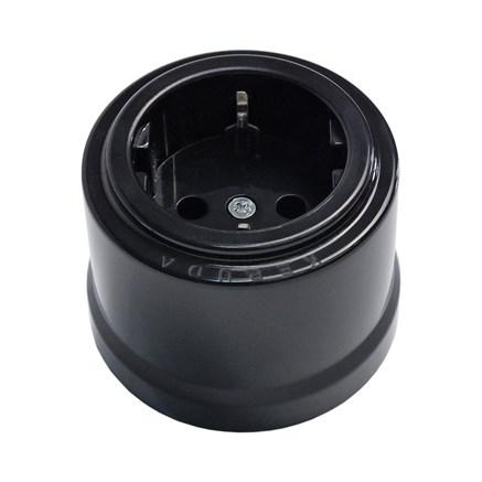 Розетка пластиковая ретро черная, KERUDA - фото 17396