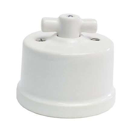 """Ретро выключатель керамический, белый, KERUDA """"TERRA"""" KTSw1-K01"""