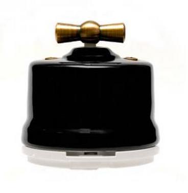 Выключатель ретро, поворотный Черный Salvador OP11BL для наружного монтажа - фото 4025