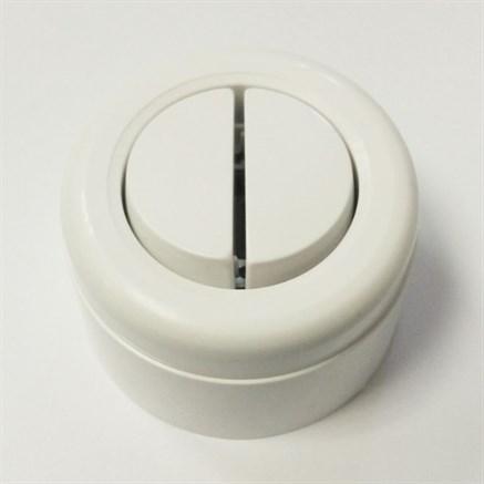 Выключатель ретро пластиковый 2-х клавишный Белый