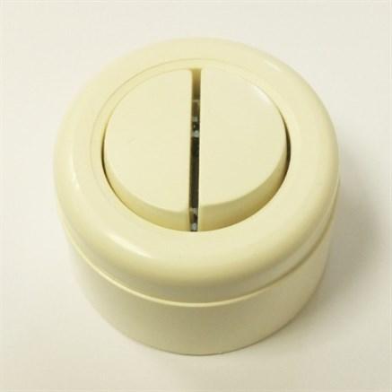Выключатель ретро пластиковый 2-х клавишный Слоновая кость