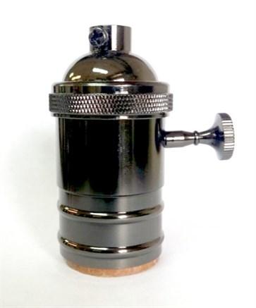 Ретро патрон c выключателем Черный Хром
