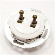 Выключатель 2кл, тумблерный Vintage 882304-1, белый/бронза