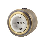 Розетка электрическая ретро, Бронза, белая VINTAGE Metal М1-22-21
