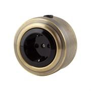 Розетка электрическая ретро, Бронза, черная VINTAGE Metal М1-23-21
