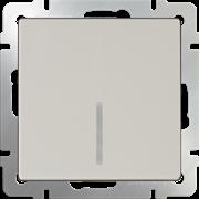 Выключатель одноклавишный с подсветкой (слоновая кость) WL03-SW-1G-LED-ivory