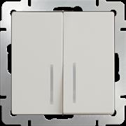 Выключатель двухклавишный с подсветкой (слоновая кость) WL03-SW-2G-LED-ivory