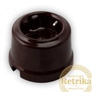 Розетка с заземлением цвет Коричневый, Retrika RS-80002
