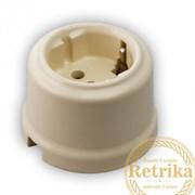 Розетка с заземлением цвет Слоновая кость, Retrika RS-80005