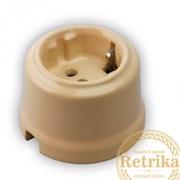 Розетка с заземлением цвет Крем, Retrika RS-80007