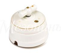 """Выключатель ретро фарфоровый белый """"Петергоф"""" с золотом, Мезонин, GE70401-50"""