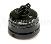"""Выключатель ретро фарфоровый черный """"Петергоф"""" с платиной, Мезонин, GE70401-52"""
