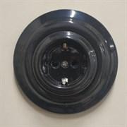 Керамическая розетка Черная+ рамка, Colony, Retrika RSV-80008+