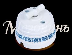 Выключатель керамический ретро Орнамент Медео  Лазурь Мезонин GE70401-77