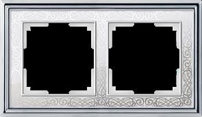 Рамка на 2 поста (хром/белый) WL77-Frame-02