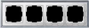 Рамка на 4 поста (хром/белый) WL77-Frame-04
