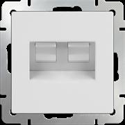 Розетка двойная Ethernet RJ-45 (белая) WL01-RJ45+RJ45
