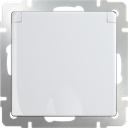 Розетка влагозащ. с зазем. с защит. крышкой и шторками (белая) WL01-SKGSC-01-IP44