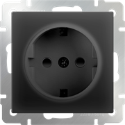 Розетка с заземлением и шторками  (черный матовый) W1171108