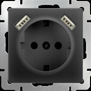 Розетка с заземлением, шторками и USBх2 (черный матовый) WL08-SKGS-USBx2-IP20