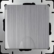 Розетка влагозащ. с зазем. с защит. крышкой и шторками (глянцевый никель) WL02-SKGSC-01-IP44
