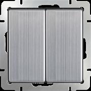 Выключатель двухклавишный проходной (глянцевый никель) WL02-SW-2G-2W