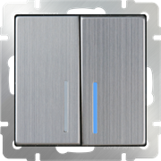 Выключатель двухклавишный с подсветкой (глянцевый никель) WL02-SW-2G-LED